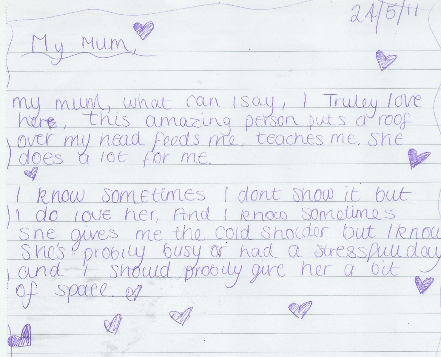 Note from My Daughter