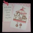 New baby personalised card - Large 8 inch card - I hand colour the image in , no clever computer stuff