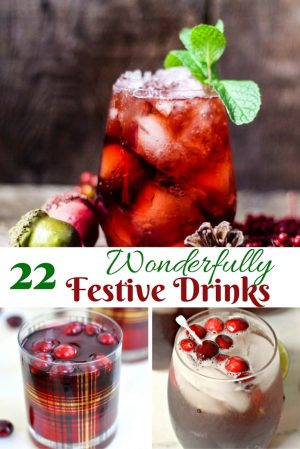 wonderfully festive drinks with text