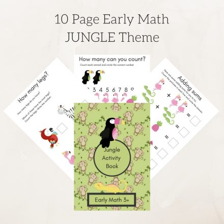 10 Page Early Math JUNGLE Theme 1