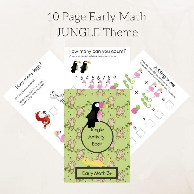 10 Page Early Math JUNGLE Theme 1