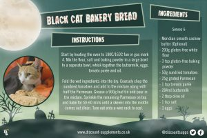 Halloween Recipe Card Black Cat Bakery Bread