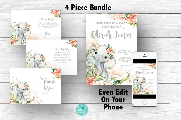 Elephant Baby Shower Bundle