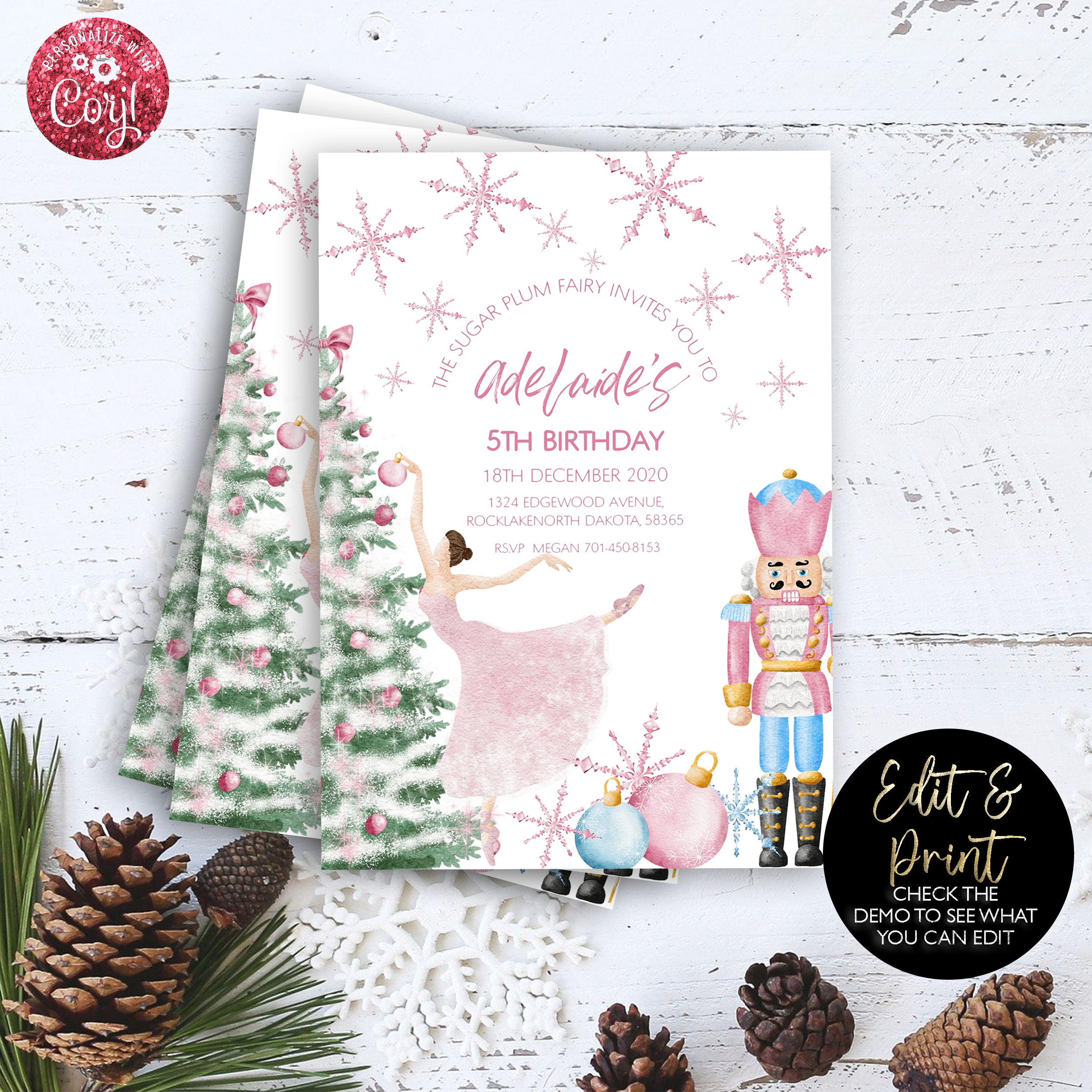 Pink Nutcracker Birthday Invitation