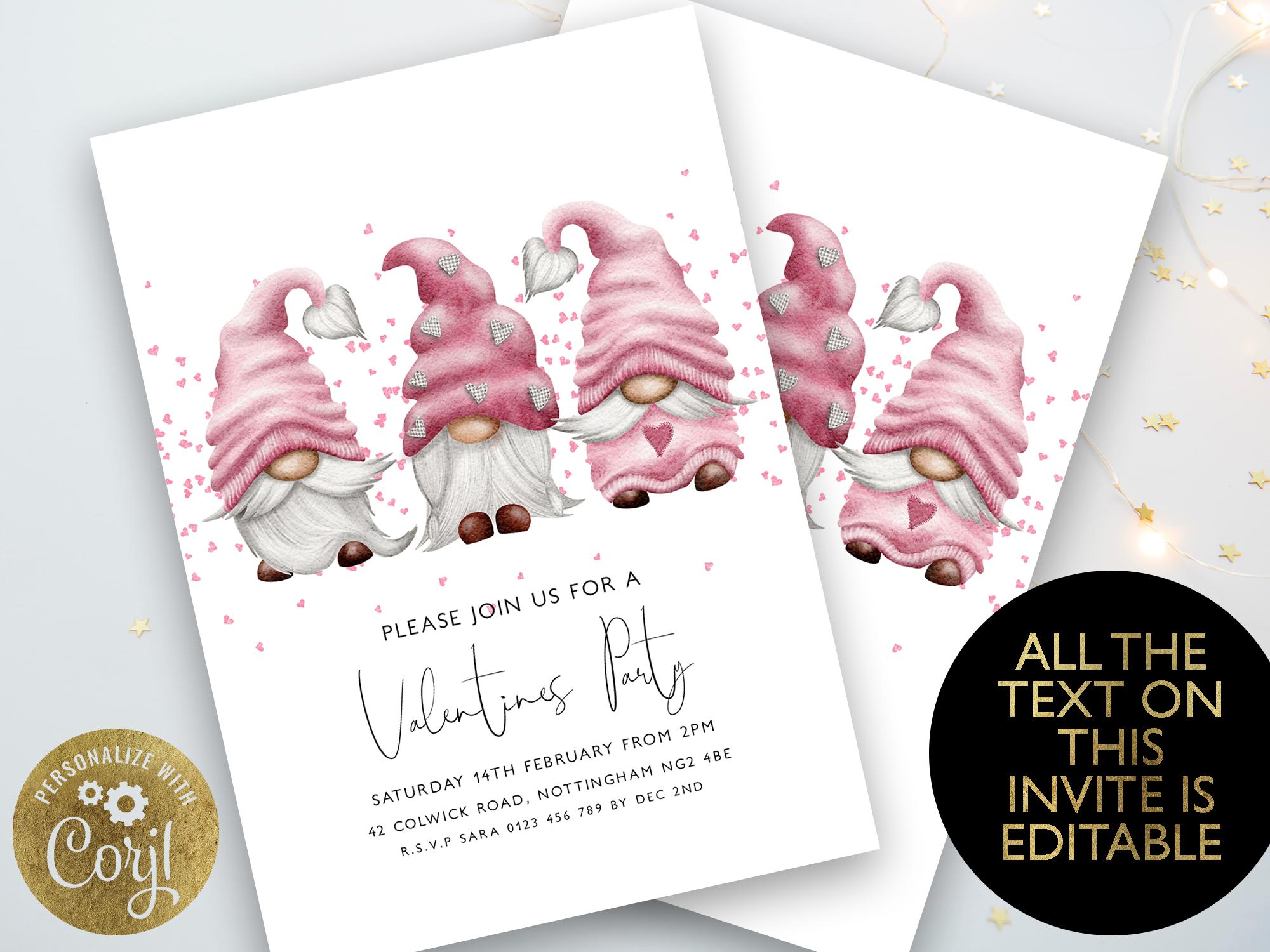 Pink Valentine Gnome invite
